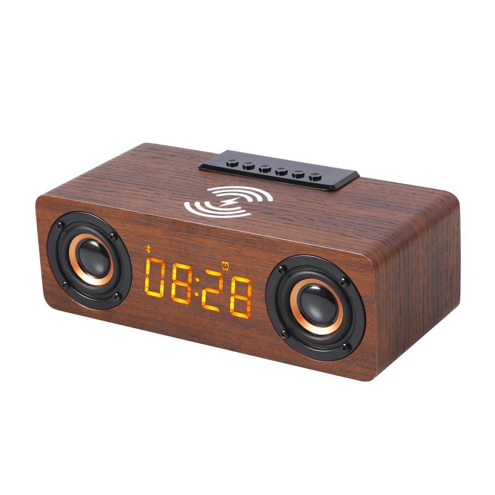 New tws bt wireless charger with speaker wooden cellphone wireless charger and speaker K1