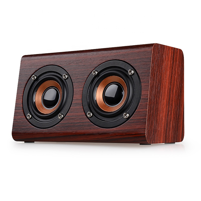 Bluetooth Speaker Red Wood Grain Bluetooth 4.2 Dual Louderspeakers Super Bass Subwoofer Hands-free with Mic 3.5mm B80 made by Manufacturer Wholesale Enle